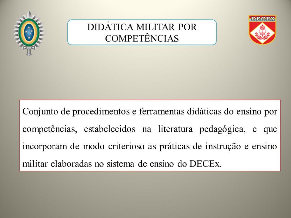 Conjunto de procedimentos e ferramentas didáticas do ensino por competências, estabelecidos na literatura pedagógica, e que incorporam de modo criterioso as práticas de instrução e ensino militar elaboradas no sistema de ensino do DECEx.