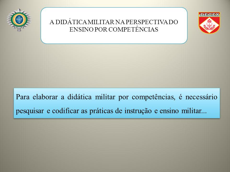 A DIDÁTICA MILITAR NA PERSPECTIVA DO ENSINO POR COMPETÊNCIAS Para elaborar a didática militar por competências, é necessário pesquisar e codificar as práticas de instrução e ensino militar...