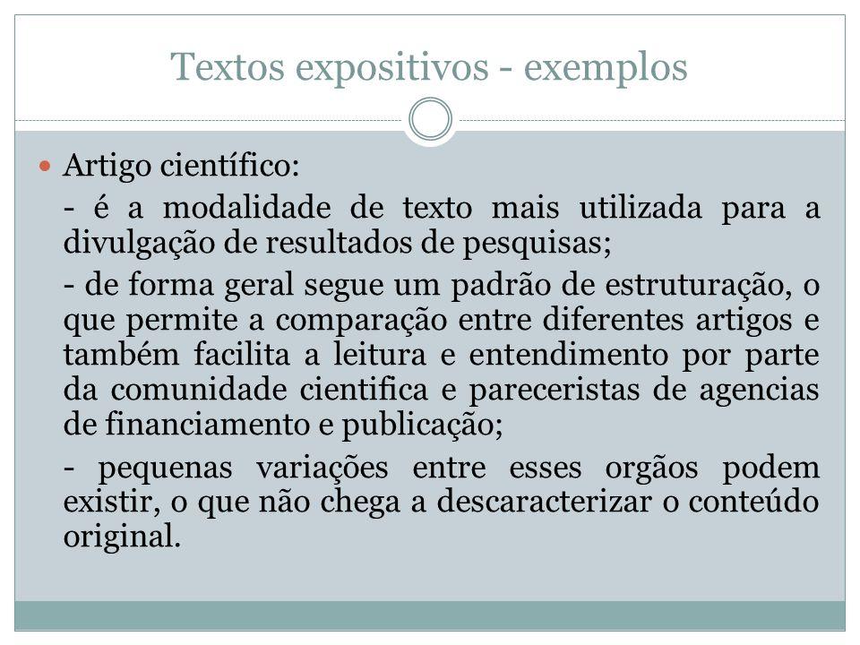Textos expositivos - exemplos Artigo científico: - é a modalidade de texto mais utilizada para a divulgação de resultados de pesquisas; - de forma ger