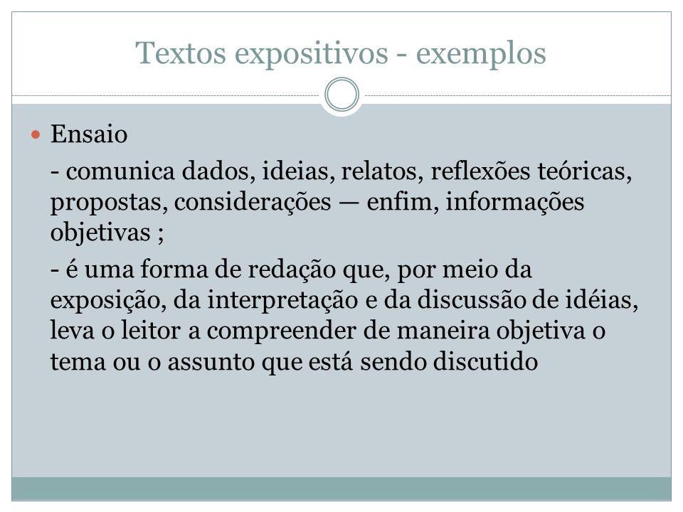 Textos expositivos - exemplos Ensaio - comunica dados, ideias, relatos, reflexões teóricas, propostas, considerações enfim, informações objetivas ; -