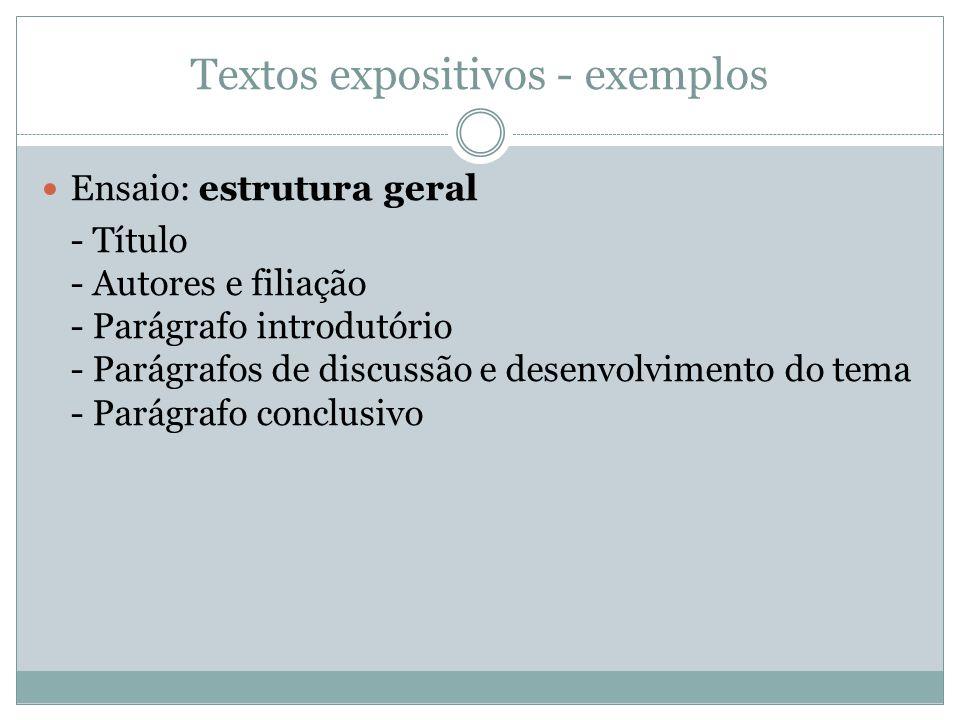 Textos expositivos - exemplos Ensaio: estrutura geral - Título - Autores e filiação - Parágrafo introdutório - Parágrafos de discussão e desenvolvimen