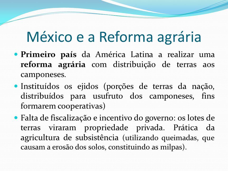 México e a Reforma agrária Primeiro país da América Latina a realizar uma reforma agrária com distribuição de terras aos camponeses. Instituídos os ej
