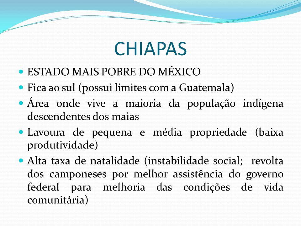 CHIAPAS ESTADO MAIS POBRE DO MÉXICO Fica ao sul (possui limites com a Guatemala) Área onde vive a maioria da população indígena descendentes dos maias