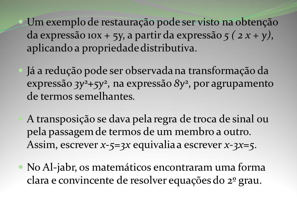 Um exemplo de restauração pode ser visto na obtenção da expressão 10x + 5y, a partir da expressão 5 ( 2 x + y), aplicando a propriedade distributiva.