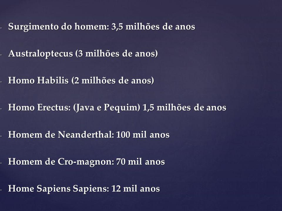 - Surgimento do homem: 3,5 milhões de anos - Australoptecus (3 milhões de anos) - Homo Habilis (2 milhões de anos) - Homo Erectus: (Java e Pequim) 1,5 milhões de anos - Homem de Neanderthal: 100 mil anos - Homem de Cro-magnon: 70 mil anos - Home Sapiens Sapiens: 12 mil anos