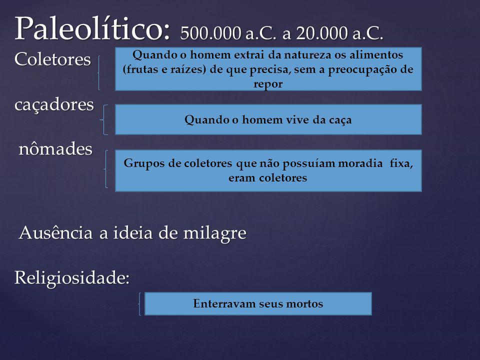 Paleolítico: 500.000 a.C.a 20.000 a.C.