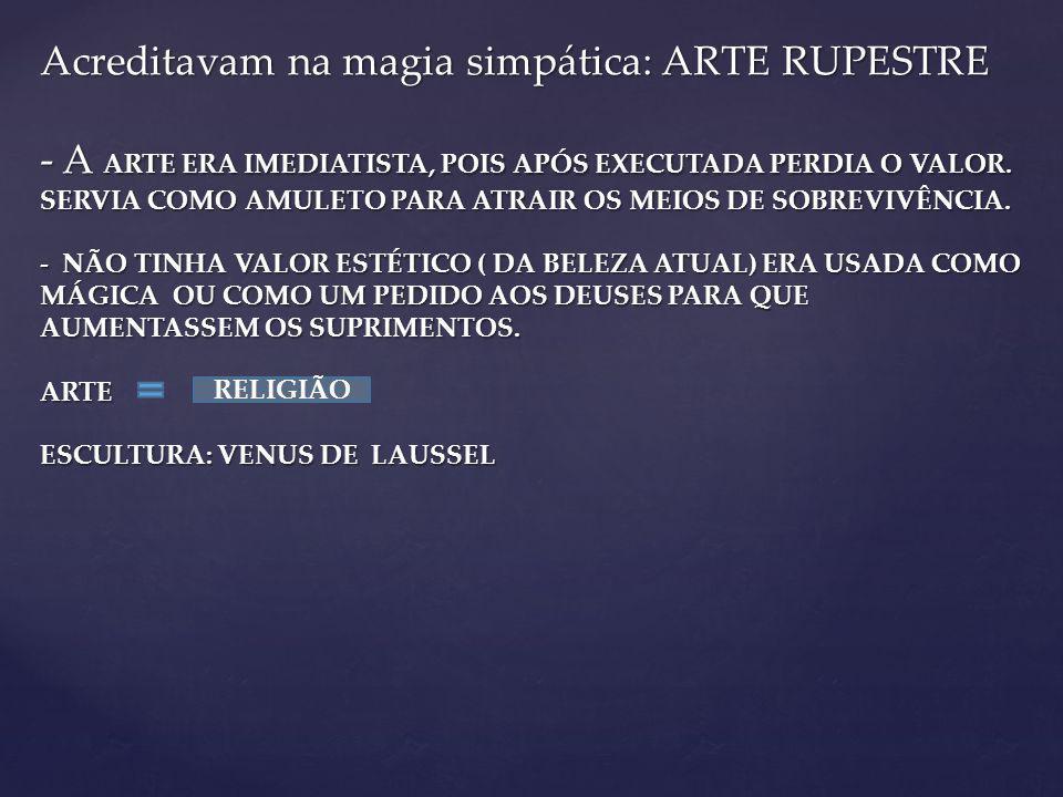 Acreditavam na magia simpática: ARTE RUPESTRE - A ARTE ERA IMEDIATISTA, POIS APÓS EXECUTADA PERDIA O VALOR.