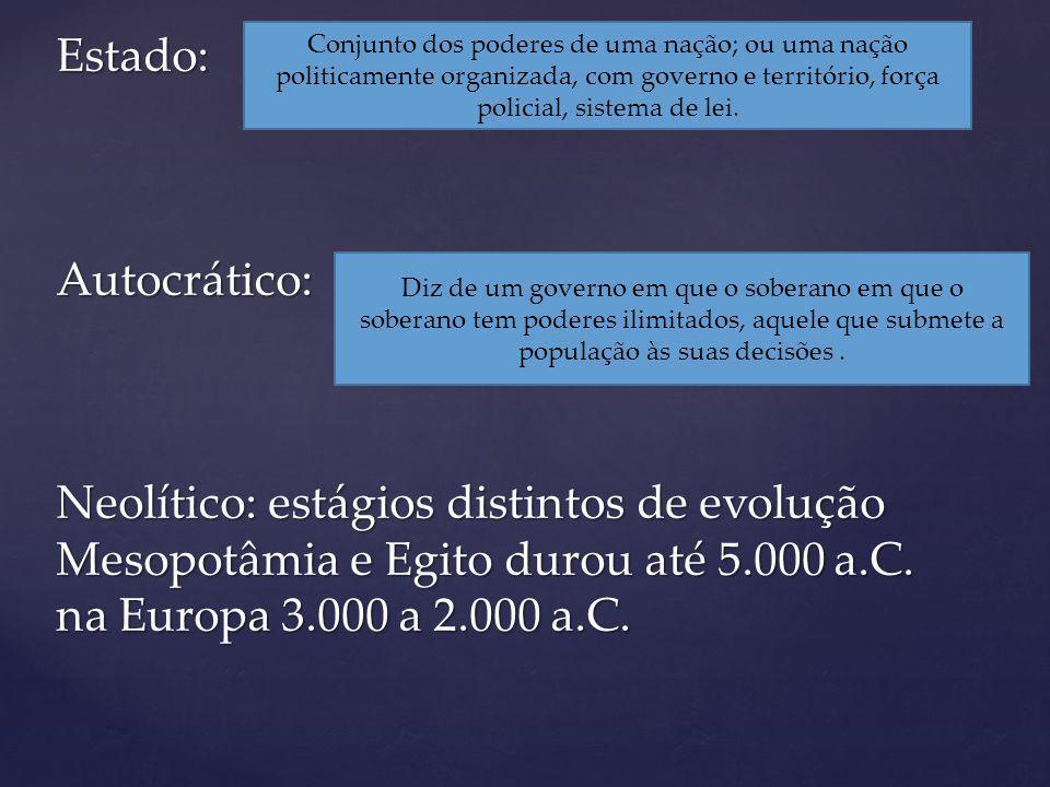 Estado: Autocrático: Neolítico: estágios distintos de evolução Mesopotâmia e Egito durou até 5.000 a.C.