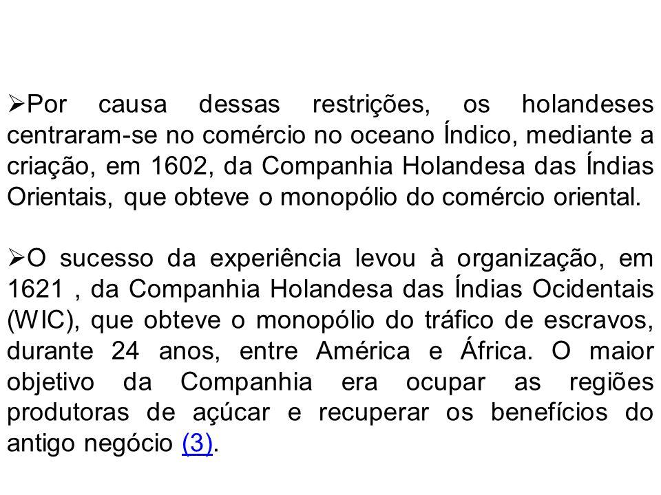 Ao serem expulsos de Pernambuco, os holandeses levaram todo o conhecimento de produção adquirido, os capitais e o conhecimento comercial dos comerciantes judeus de origem português.
