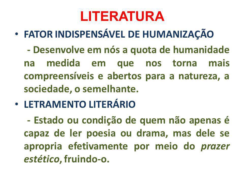 LITERATURA FATOR INDISPENSÁVEL DE HUMANIZAÇÃO - Desenvolve em nós a quota de humanidade na medida em que nos torna mais compreensíveis e abertos para