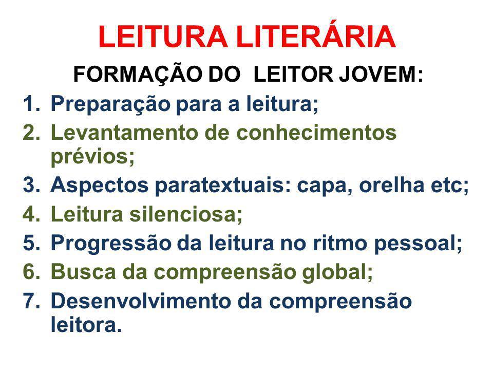 LEITURA LITERÁRIA FORMAÇÃO DO LEITOR JOVEM: 1.Preparação para a leitura; 2.Levantamento de conhecimentos prévios; 3.Aspectos paratextuais: capa, orelh