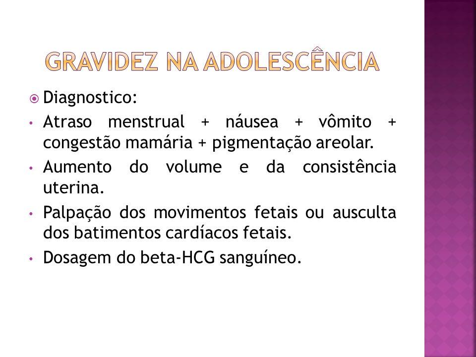 Diagnostico: Atraso menstrual + náusea + vômito + congestão mamária + pigmentação areolar. Aumento do volume e da consistência uterina. Palpação dos m