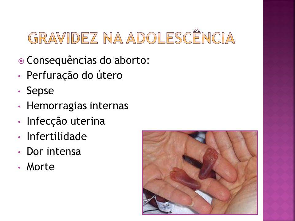 Consequências do aborto: Perfuração do útero Sepse Hemorragias internas Infecção uterina Infertilidade Dor intensa Morte