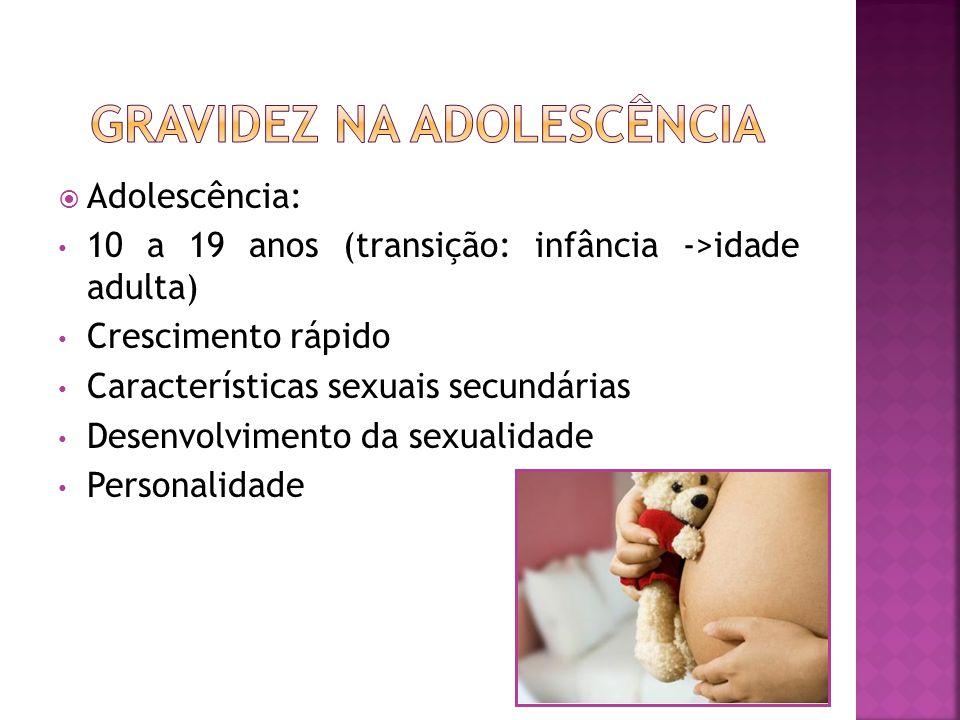 Adolescência: 10 a 19 anos (transição: infância ->idade adulta) Crescimento rápido Características sexuais secundárias Desenvolvimento da sexualidade