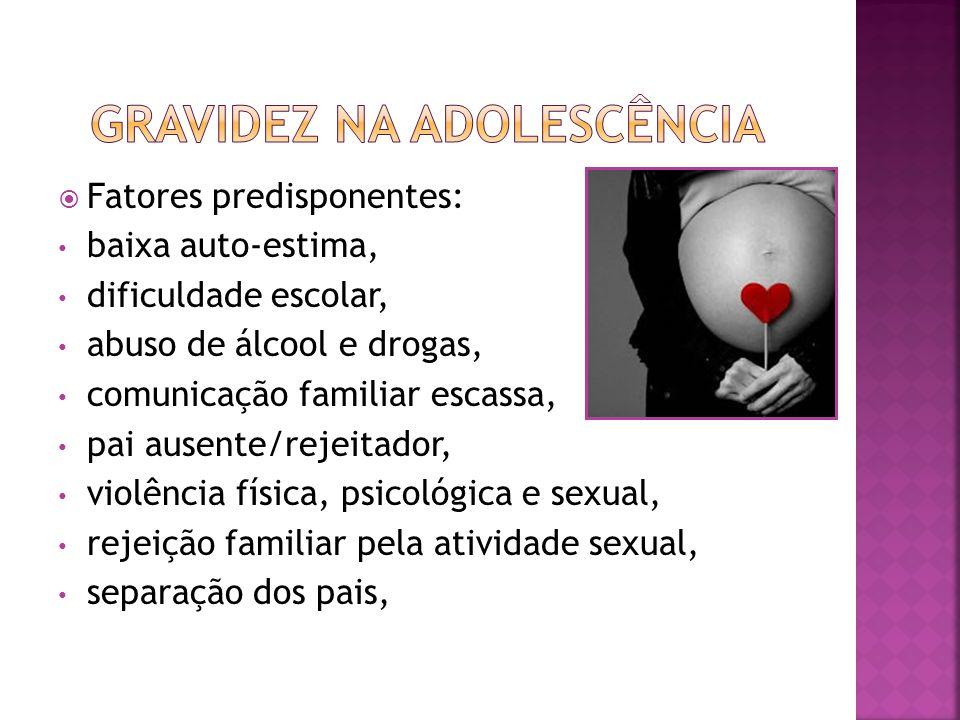 Fatores predisponentes: baixa auto-estima, dificuldade escolar, abuso de álcool e drogas, comunicação familiar escassa, pai ausente/rejeitador, violên