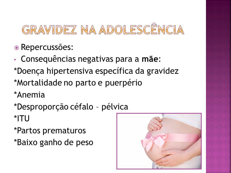 Repercussões: Consequências negativas para a mãe: *Doença hipertensiva específica da gravidez *Mortalidade no parto e puerpério *Anemia *Desproporção