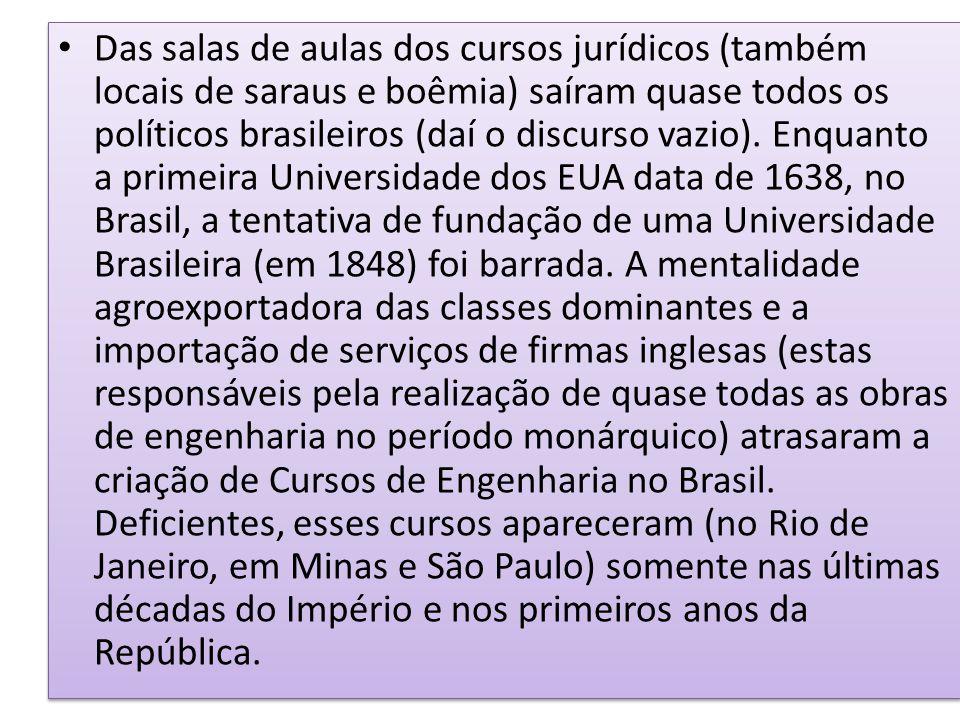 Das salas de aulas dos cursos jurídicos (também locais de saraus e boêmia) saíram quase todos os políticos brasileiros (daí o discurso vazio). Enquant