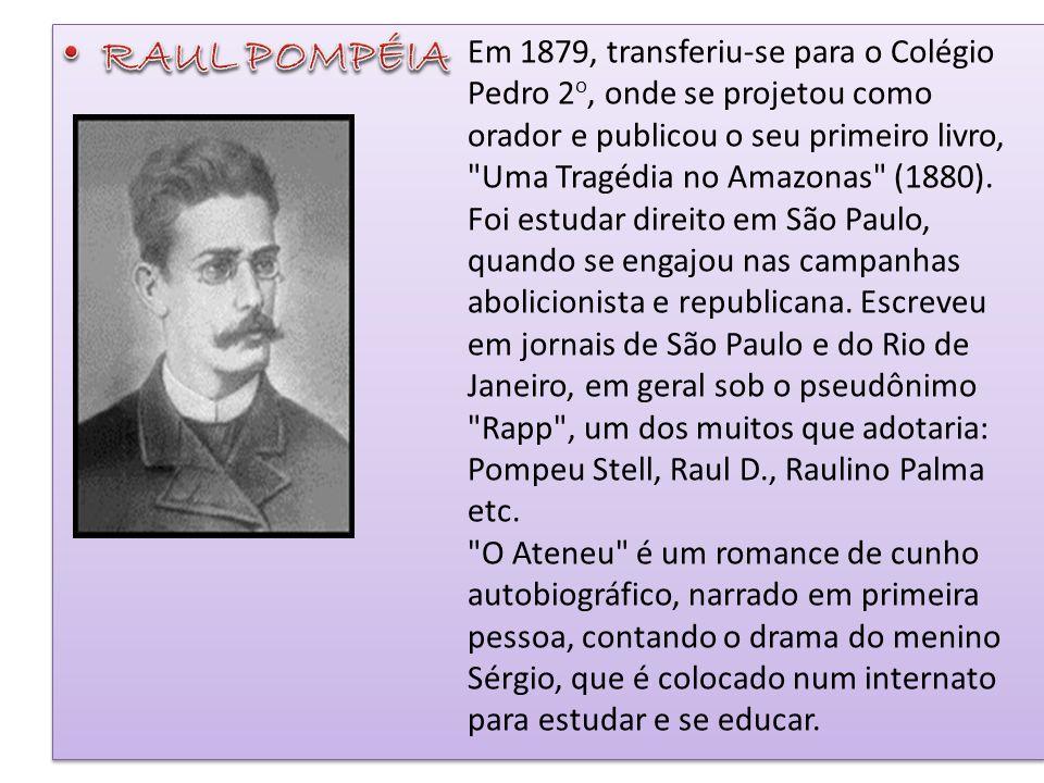 Em 1879, transferiu-se para o Colégio Pedro 2 o, onde se projetou como orador e publicou o seu primeiro livro,
