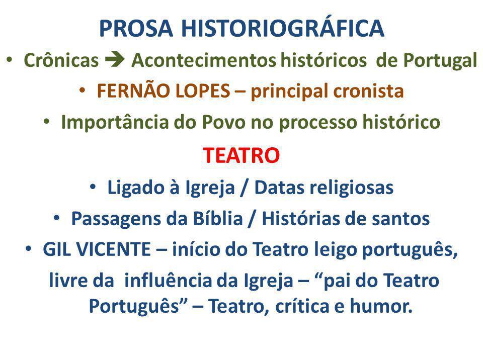PROSA HISTORIOGRÁFICA Crônicas Acontecimentos históricos de Portugal FERNÃO LOPES – principal cronista Importância do Povo no processo histórico TEATR