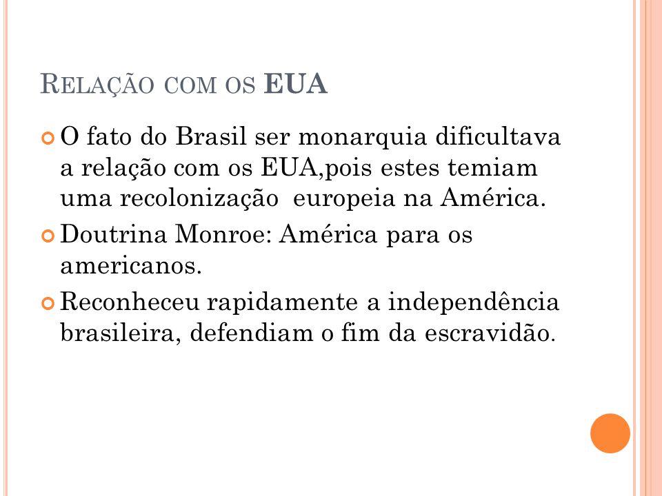 R ELAÇÃO COM OS EUA O fato do Brasil ser monarquia dificultava a relação com os EUA,pois estes temiam uma recolonização europeia na América. Doutrina