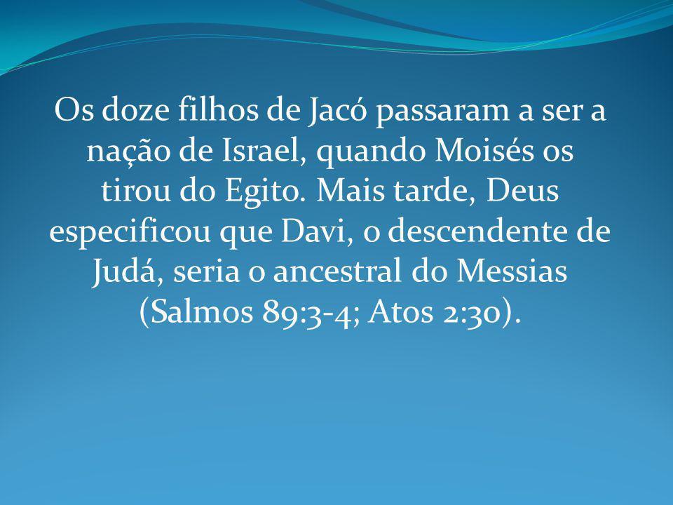 Os doze filhos de Jacó passaram a ser a nação de Israel, quando Moisés os tirou do Egito. Mais tarde, Deus especificou que Davi, o descendente de Judá