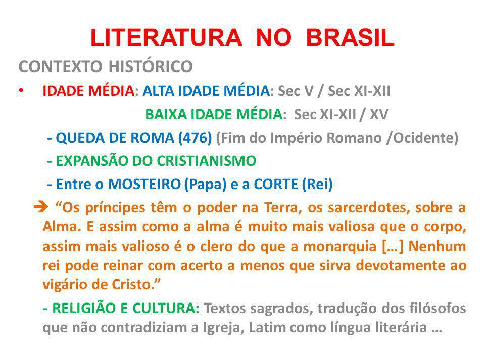 LITERATURA NO BRASIL CONTEXTO HISTÓRICO IDADE MÉDIA: ALTA IDADE MÉDIA: Sec V / Sec XI-XII BAIXA IDADE MÉDIA: Sec XI-XII / XV - QUEDA DE ROMA (476) (Fi