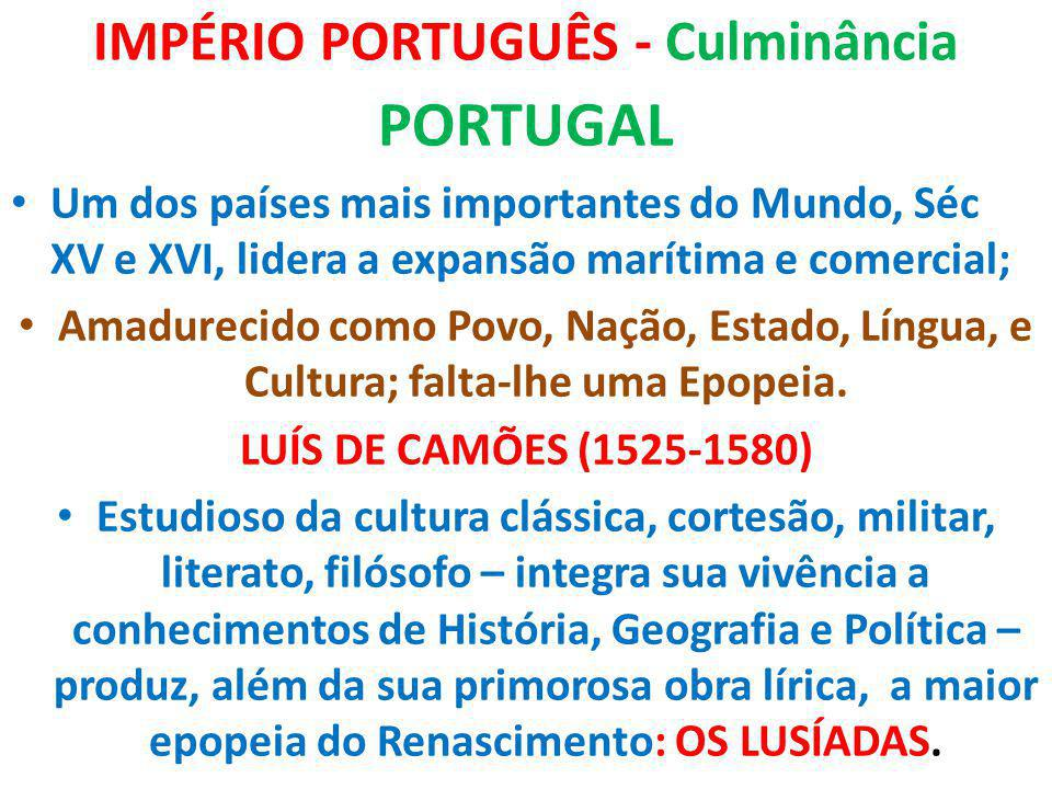 IMPÉRIO PORTUGUÊS - Culminância PORTUGAL Um dos países mais importantes do Mundo, Séc XV e XVI, lidera a expansão marítima e comercial; Amadurecido co