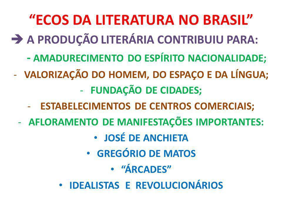 ECOS DA LITERATURA NO BRASIL A PRODUÇÃO LITERÁRIA CONTRIBUIU PARA: - AMADURECIMENTO DO ESPÍRITO NACIONALIDADE; -VALORIZAÇÃO DO HOMEM, DO ESPAÇO E DA L