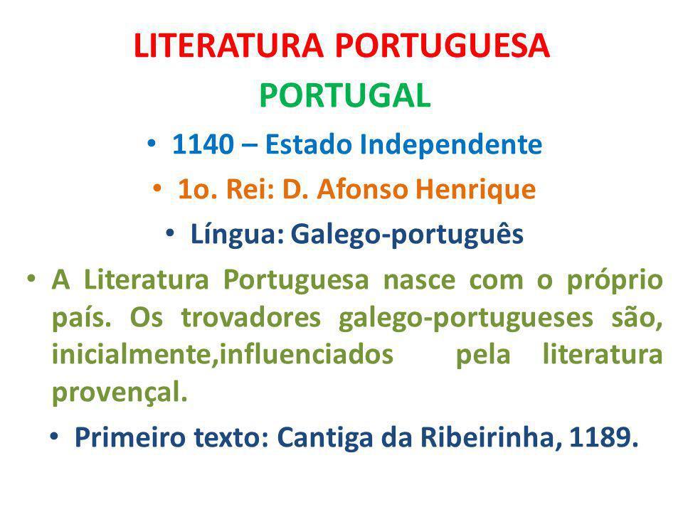 LITERATURA PORTUGUESA PORTUGAL 1140 – Estado Independente 1o. Rei: D. Afonso Henrique Língua: Galego-português A Literatura Portuguesa nasce com o pró