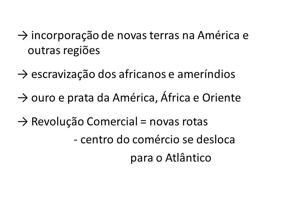 incorporação de novas terras na América e outras regiões escravização dos africanos e ameríndios ouro e prata da América, África e Oriente Revolução C