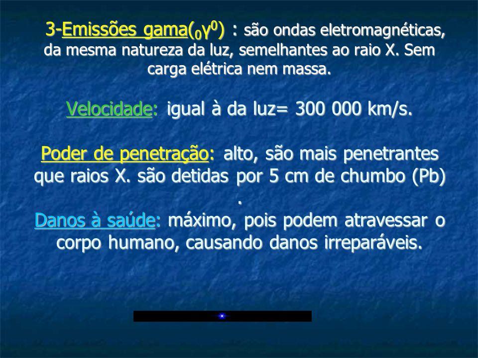 3-Emissões gama( 0 γ 0 ) : são ondas eletromagnéticas, da mesma natureza da luz, semelhantes ao raio X. Sem carga elétrica nem massa. Velocidade: igua