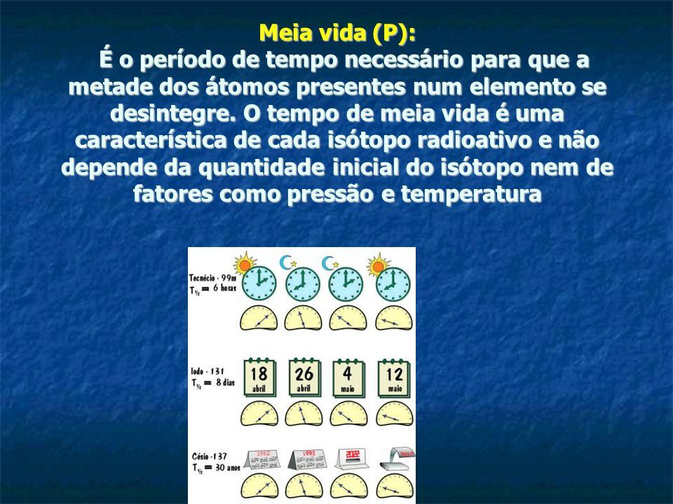 Meia vida (P): É o período de tempo necessário para que a metade dos átomos presentes num elemento se desintegre. O tempo de meia vida é uma caracterí