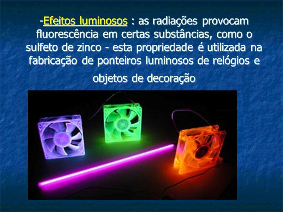 -Efeitos luminosos : as radiações provocam fluorescência em certas substâncias, como o sulfeto de zinco - esta propriedade é utilizada na fabricação d