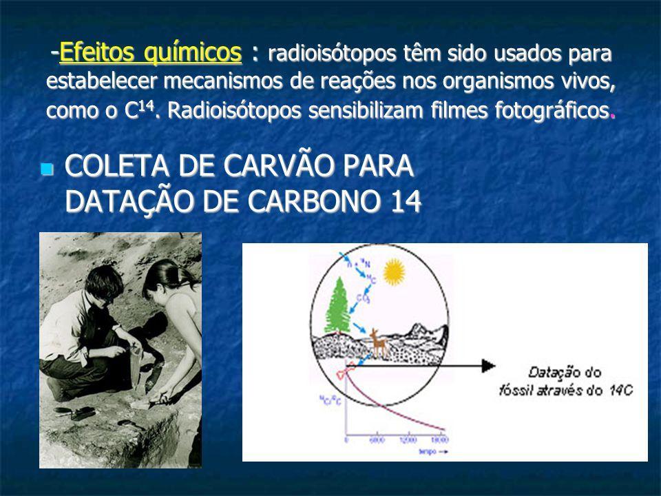 -Efeitos químicos : radioisótopos têm sido usados para estabelecer mecanismos de reações nos organismos vivos, como o C 14. Radioisótopos sensibilizam