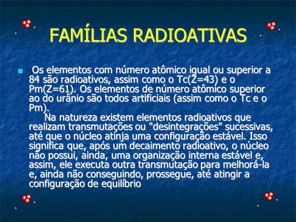 FAMÍLIAS RADIOATIVAS Os elementos com número atômico igual ou superior a 84 são radioativos, assim como o Tc(Z=43) e o Pm(Z=61). Os elementos de númer