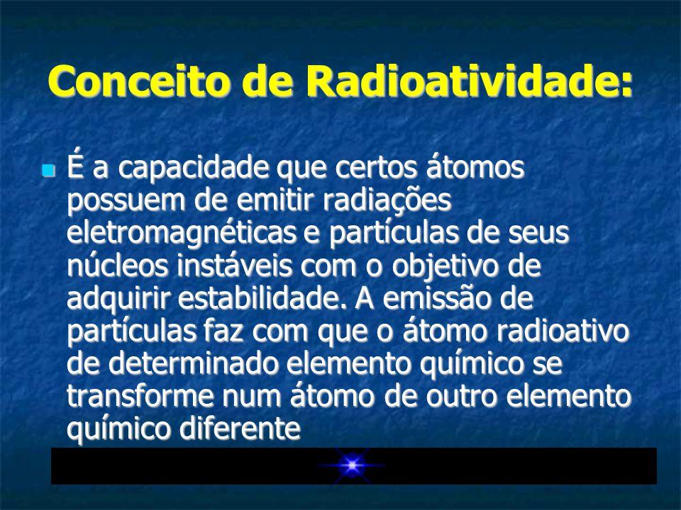 Conceito de Radioatividade: É a capacidade que certos átomos possuem de emitir radiações eletromagnéticas e partículas de seus núcleos instáveis com o