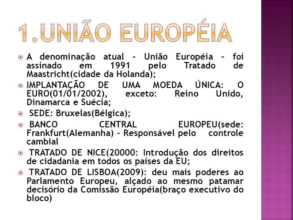 A denominação atual – União Européia – foi assinado em 1991 pelo Tratado de Maastricht(cidade da Holanda); IMPLANTAÇÃO DE UMA MOEDA ÚNICA: O EURO(01/0