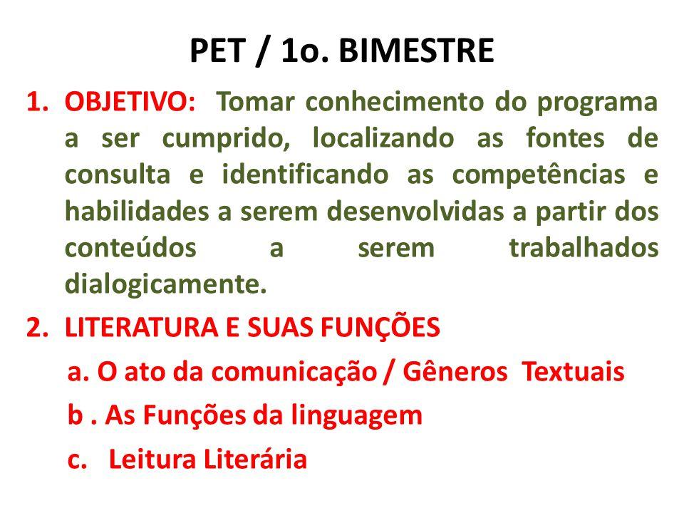 PET 1o.BIMESTRE 2. LITERATURA E SUAS FUNÇÕES d. A Literatura e suas funções (Cap 1/LT) e.