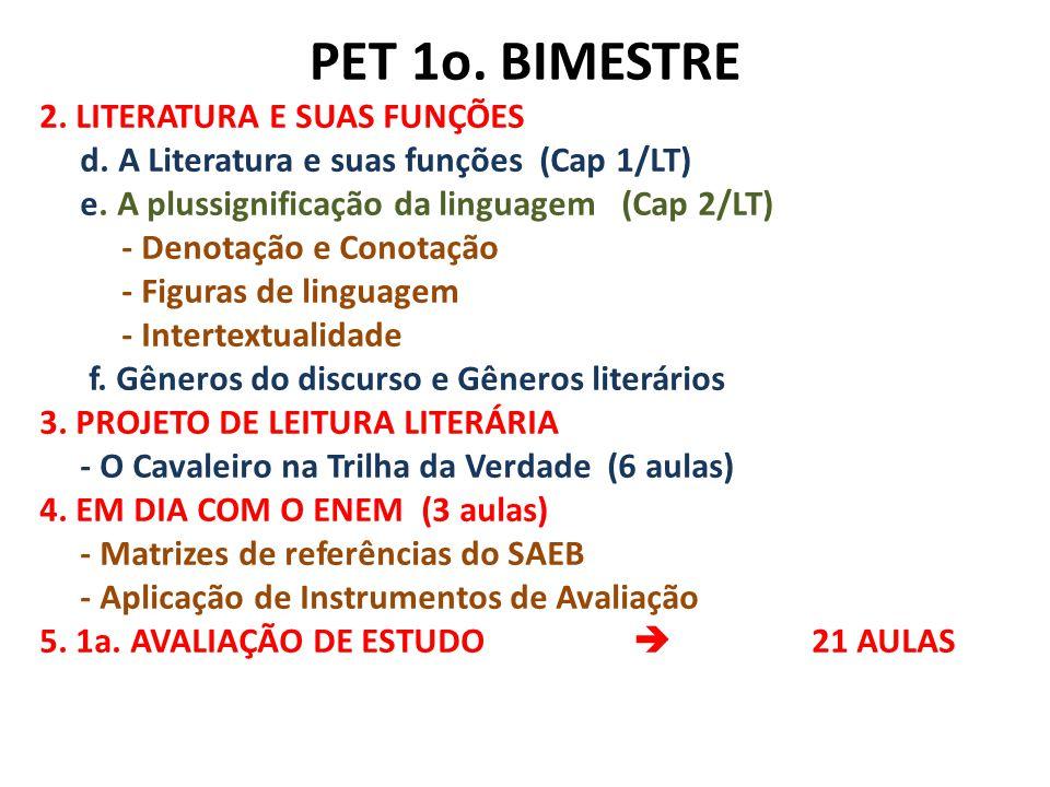 PET 1o. BIMESTRE 2. LITERATURA E SUAS FUNÇÕES d. A Literatura e suas funções (Cap 1/LT) e. A plussignificação da linguagem (Cap 2/LT) - Denotação e Co