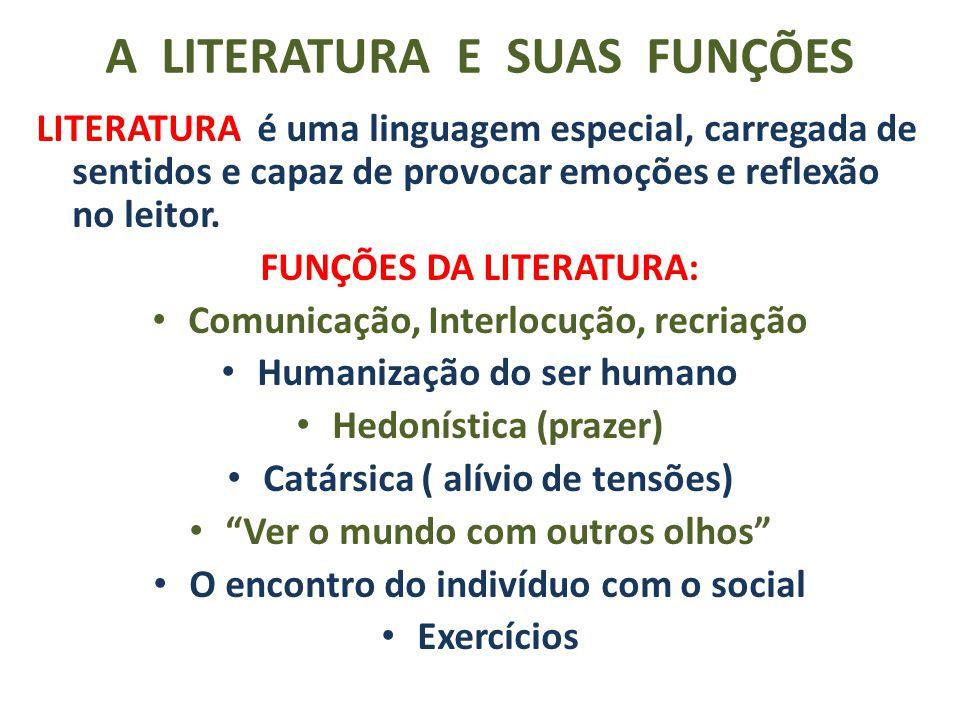 A LITERATURA E SUAS FUNÇÕES LITERATURA é uma linguagem especial, carregada de sentidos e capaz de provocar emoções e reflexão no leitor. FUNÇÕES DA LI