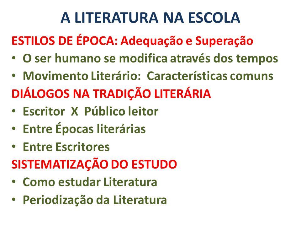 A LITERATURA NA ESCOLA ESTILOS DE ÉPOCA: Adequação e Superação O ser humano se modifica através dos tempos Movimento Literário: Características comuns