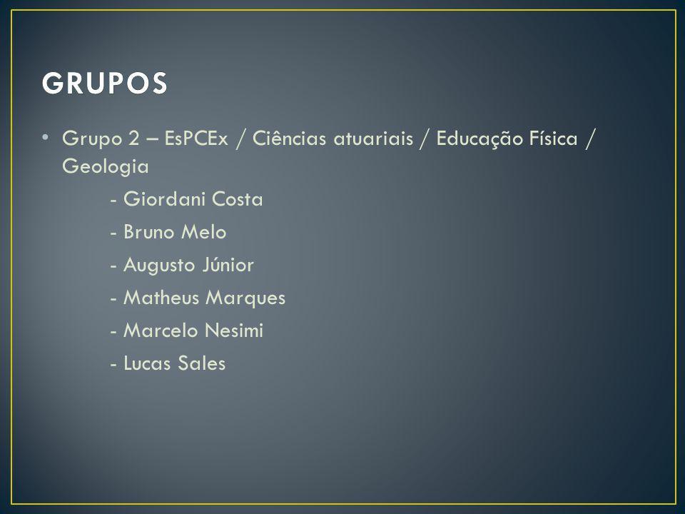 Grupo 2 – EsPCEx / Ciências atuariais / Educação Física / Geologia - Giordani Costa - Bruno Melo - Augusto Júnior - Matheus Marques - Marcelo Nesimi -