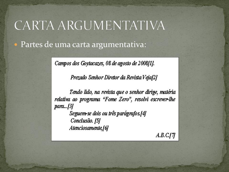 Partes de uma carta argumentativa:
