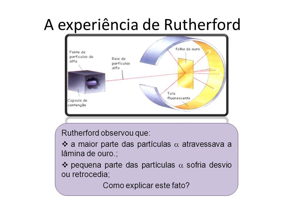 A experiência de Rutherford Rutherford observou que: a maior parte das partículas atravessava a lâmina de ouro.; pequena parte das partículas sofria d