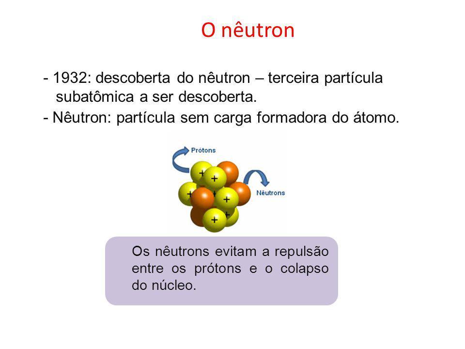 O nêutron - 1932: descoberta do nêutron – terceira partícula subatômica a ser descoberta. - Nêutron: partícula sem carga formadora do átomo. Os nêutro