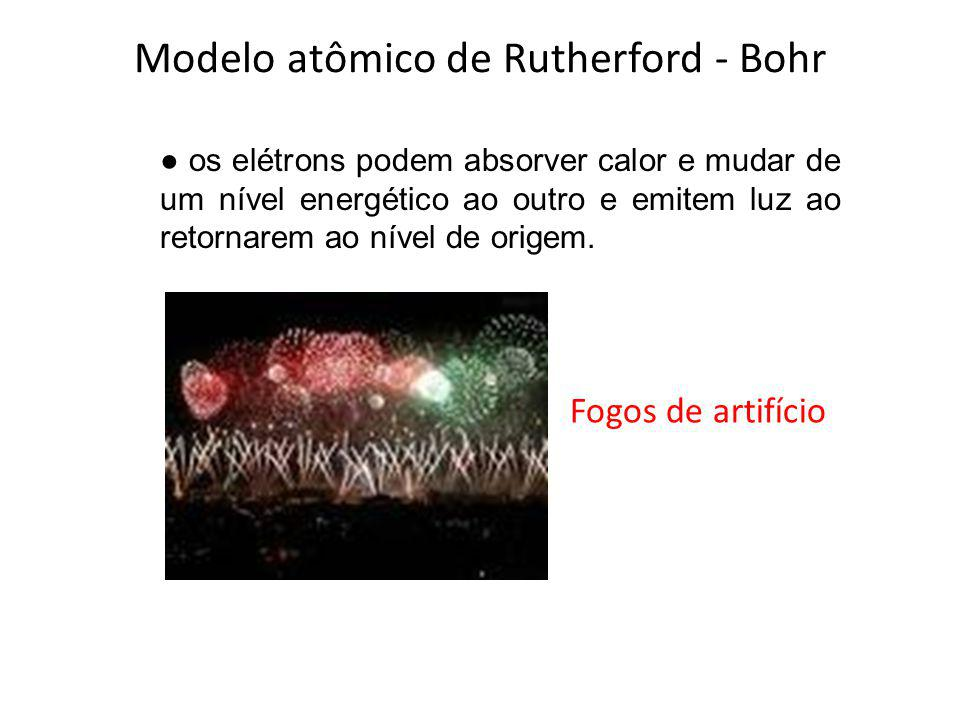 Modelo atômico de Rutherford - Bohr os elétrons podem absorver calor e mudar de um nível energético ao outro e emitem luz ao retornarem ao nível de or