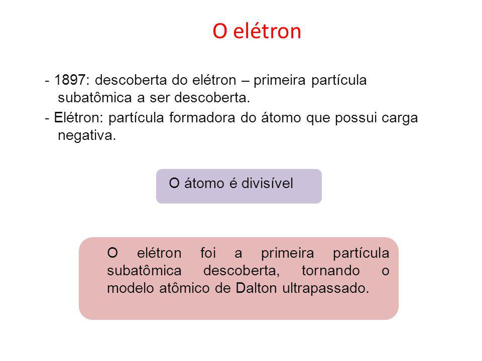 O elétron - 1897: descoberta do elétron – primeira partícula subatômica a ser descoberta. - Elétron: partícula formadora do átomo que possui carga neg