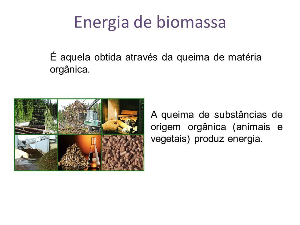 Energia de biomassa É aquela obtida através da queima de matéria orgânica. A queima de substâncias de origem orgânica (animais e vegetais) produz ener