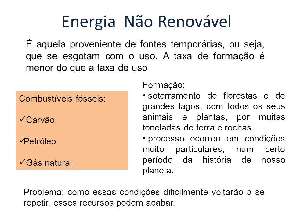 Energia Não Renovável É aquela proveniente de fontes temporárias, ou seja, que se esgotam com o uso. A taxa de formação é menor do que a taxa de uso C