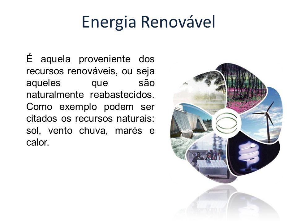 Energia Renovável É aquela proveniente dos recursos renováveis, ou seja aqueles que são naturalmente reabastecidos. Como exemplo podem ser citados os